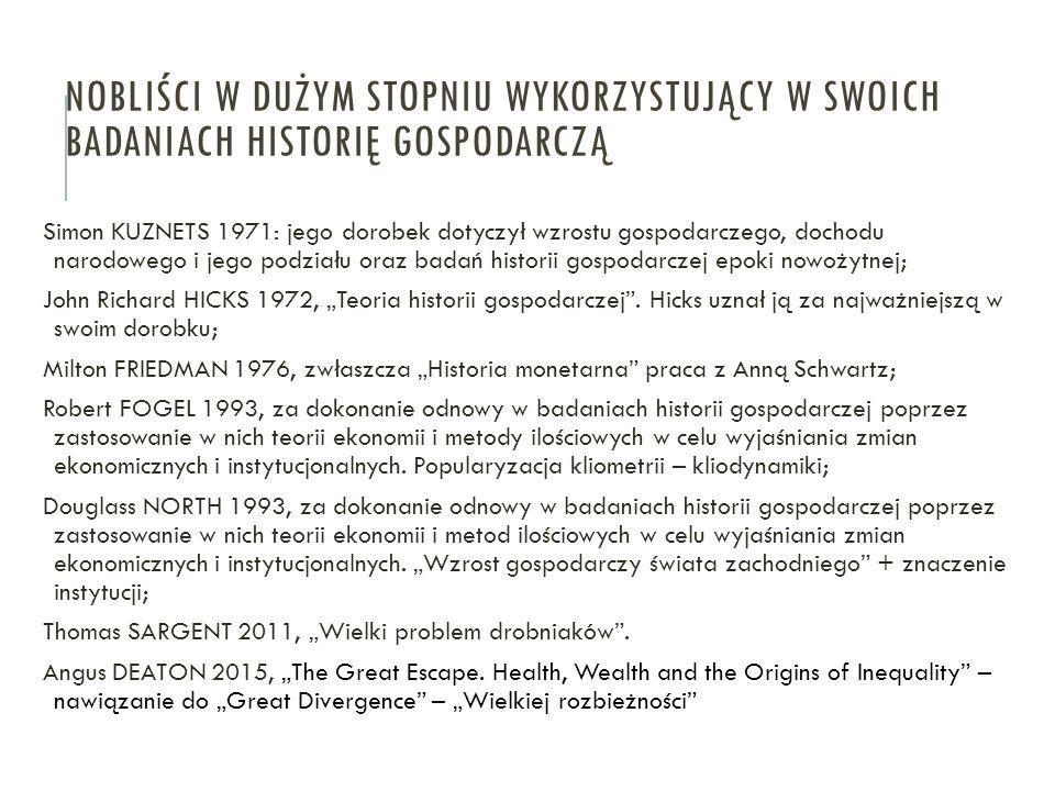 Simon KUZNETS 1971: jego dorobek dotyczył wzrostu gospodarczego, dochodu narodowego i jego podziału oraz badań historii gospodarczej epoki nowożytnej;