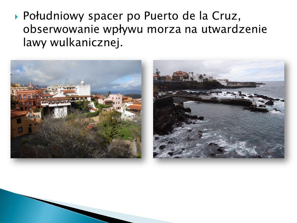  Południowy spacer po Puerto de la Cruz, obserwowanie wpływu morza na utwardzenie lawy wulkanicznej.