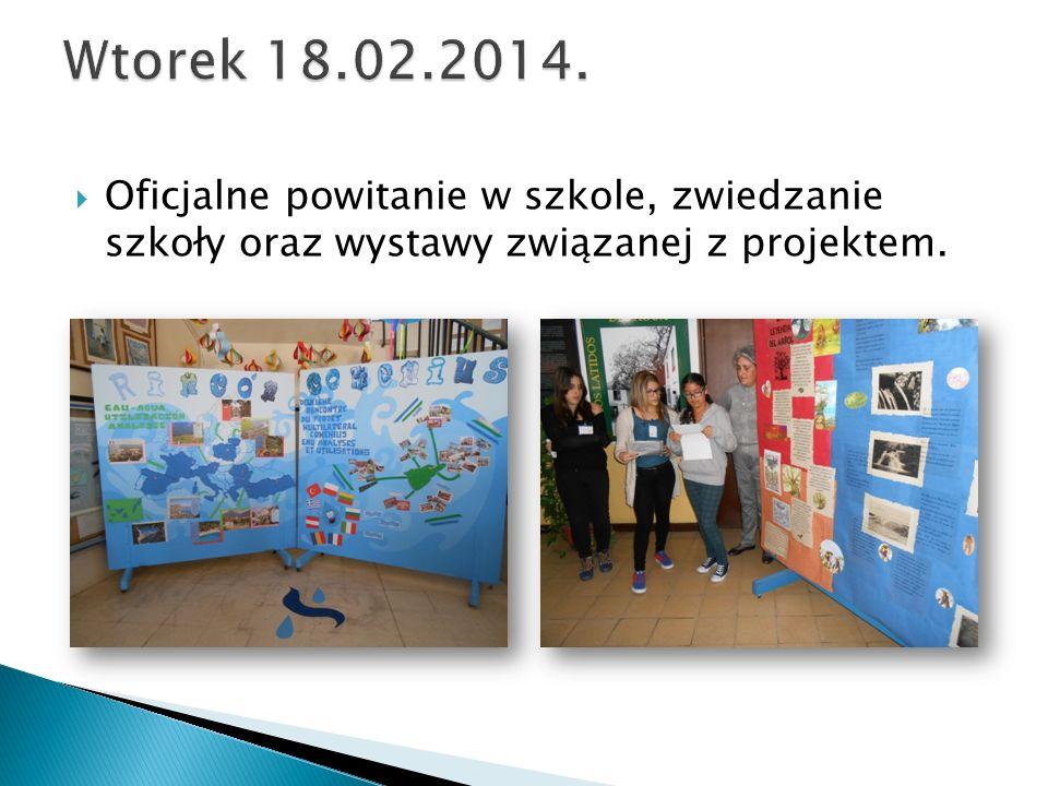  Oficjalne powitanie w szkole, zwiedzanie szkoły oraz wystawy związanej z projektem.