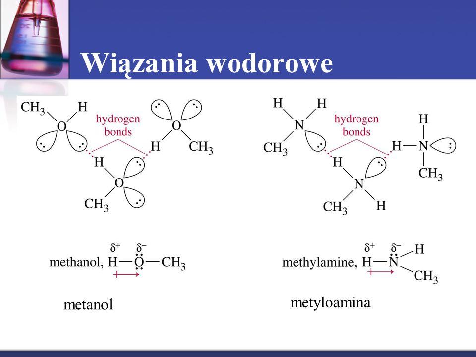 Wiązania wodorowe metanol metyloamina