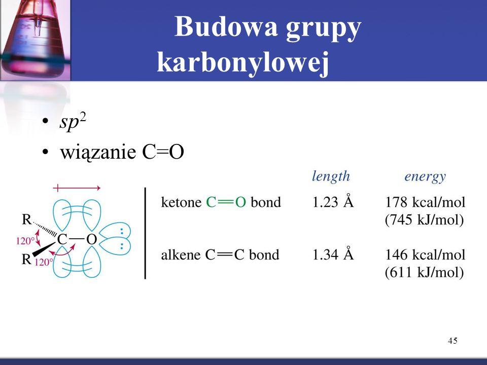45 Budowa grupy karbonylowej sp 2 wiązanie C=O