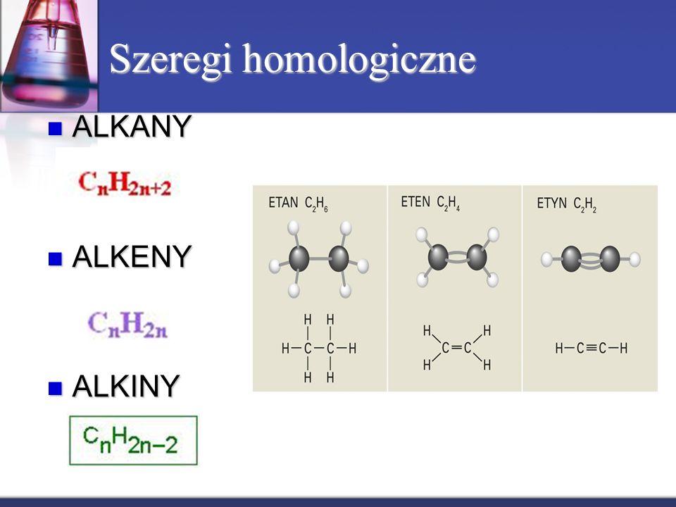 Szeregi homologiczne ALKANY ALKANY ALKENY ALKENY ALKINY ALKINY