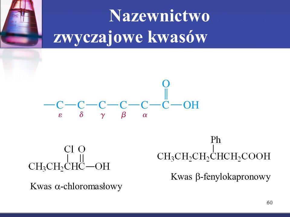 60 Nazewnictwo zwyczajowe kwasów Kwas  -chloromasłowyKwas  -fenylokapronowy