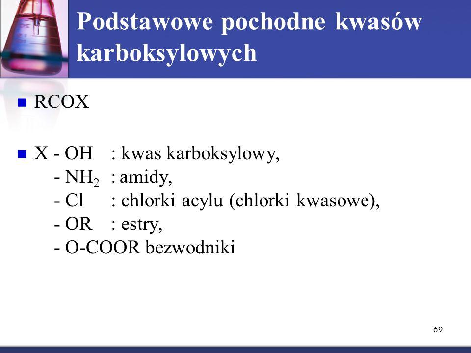 69 Podstawowe pochodne kwasów karboksylowych RCOX X - OH: kwas karboksylowy, - NH 2 : amidy, - Cl : chlorki acylu (chlorki kwasowe), - OR: estry, - O-