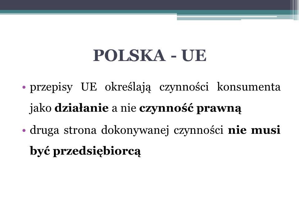 POLSKA - UE przepisy UE określają czynności konsumenta jako działanie a nie czynność prawną druga strona dokonywanej czynności nie musi być przedsiębiorcą
