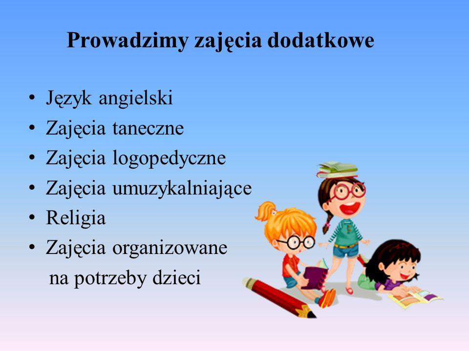 Prowadzimy zajęcia dodatkowe Język angielski Zajęcia taneczne Zajęcia logopedyczne Zajęcia umuzykalniające Religia Zajęcia organizowane na potrzeby dzieci