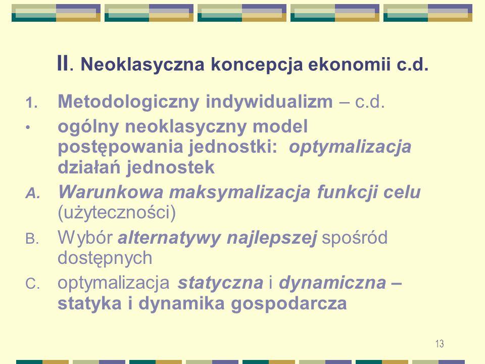 13 II. Neoklasyczna koncepcja ekonomii c.d. 1. Metodologiczny indywidualizm – c.d.