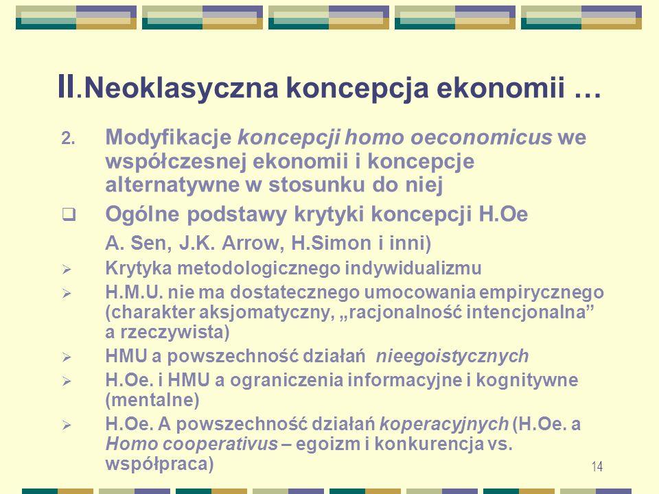 II. Neoklasyczna koncepcja ekonomii … 2.