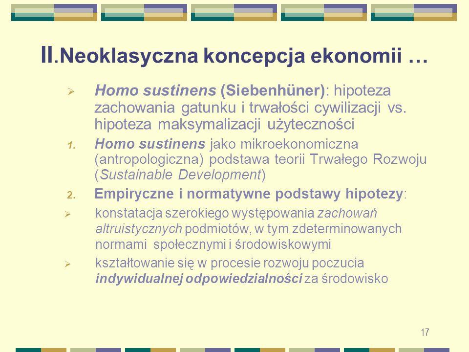 II. Neoklasyczna koncepcja ekonomii …  Homo sustinens (Siebenhüner): hipoteza zachowania gatunku i trwałości cywilizacji vs. hipoteza maksymalizacji