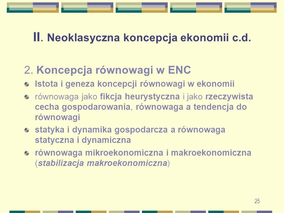 25 II. Neoklasyczna koncepcja ekonomii c.d. 2.