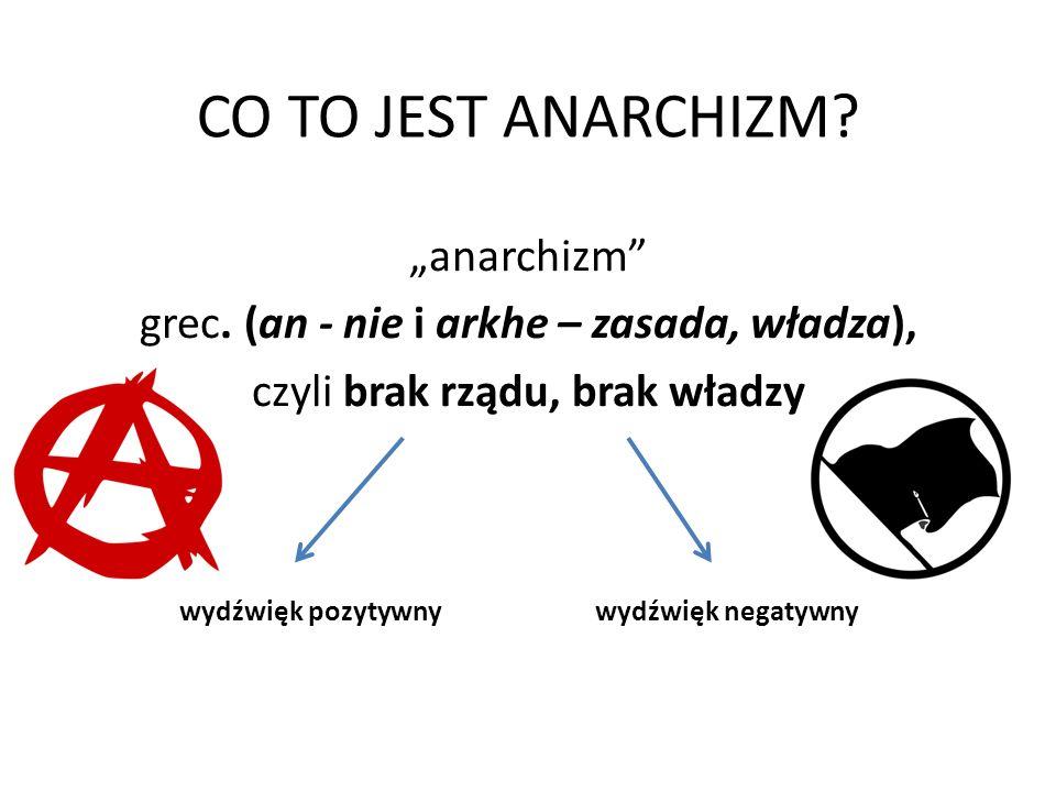 """CO TO JEST ANARCHIZM? """"anarchizm"""" grec. (an - nie i arkhe – zasada, władza), czyli brak rządu, brak władzy wydźwięk pozytywnywydźwięk negatywny"""