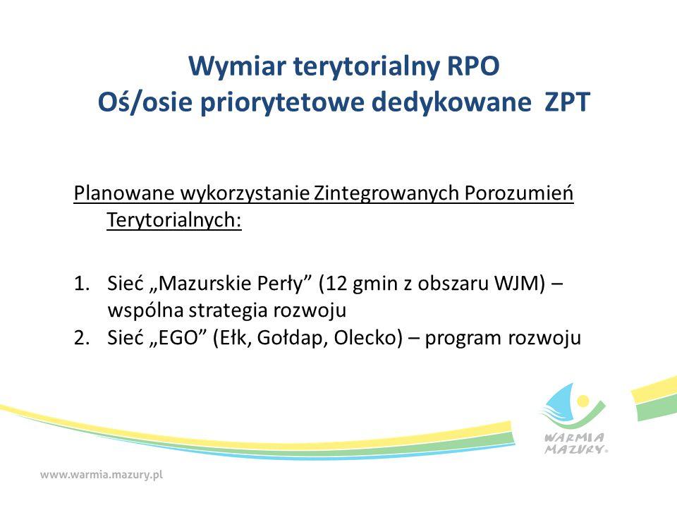 """Wymiar terytorialny RPO Oś/osie priorytetowe dedykowane ZPT Planowane wykorzystanie Zintegrowanych Porozumień Terytorialnych: 1.Sieć """"Mazurskie Perły"""""""