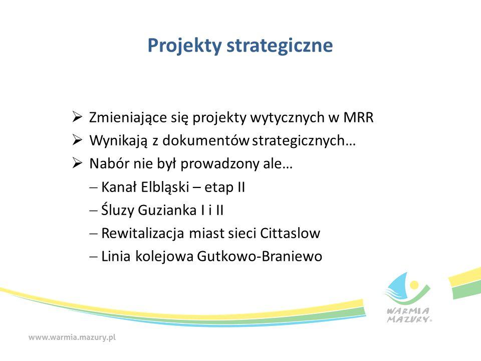 Projekty strategiczne  Zmieniające się projekty wytycznych w MRR  Wynikają z dokumentów strategicznych…  Nabór nie był prowadzony ale…  Kanał Elbl