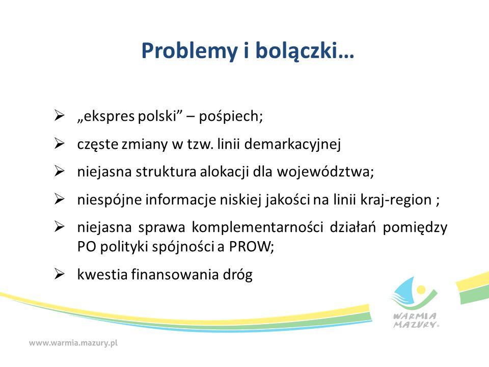"""Problemy i bolączki…  """"ekspres polski"""" – pośpiech;  częste zmiany w tzw. linii demarkacyjnej  niejasna struktura alokacji dla województwa;  niespó"""