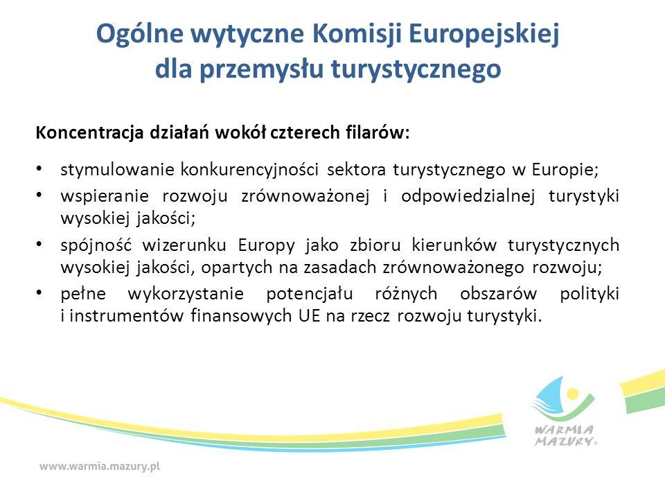 Ogólne wytyczne Komisji Europejskiej dla przemysłu turystycznego Koncentracja działań wokół czterech filarów: stymulowanie konkurencyjności sektora tu