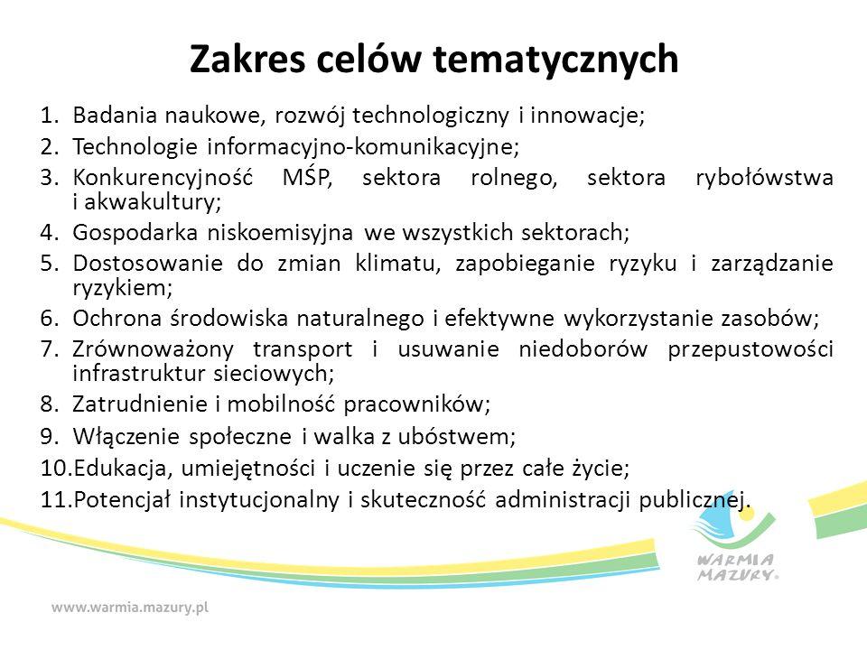 Zakres celów tematycznych 1.Badania naukowe, rozwój technologiczny i innowacje; 2.Technologie informacyjno-komunikacyjne; 3.Konkurencyjność MŚP, sekto