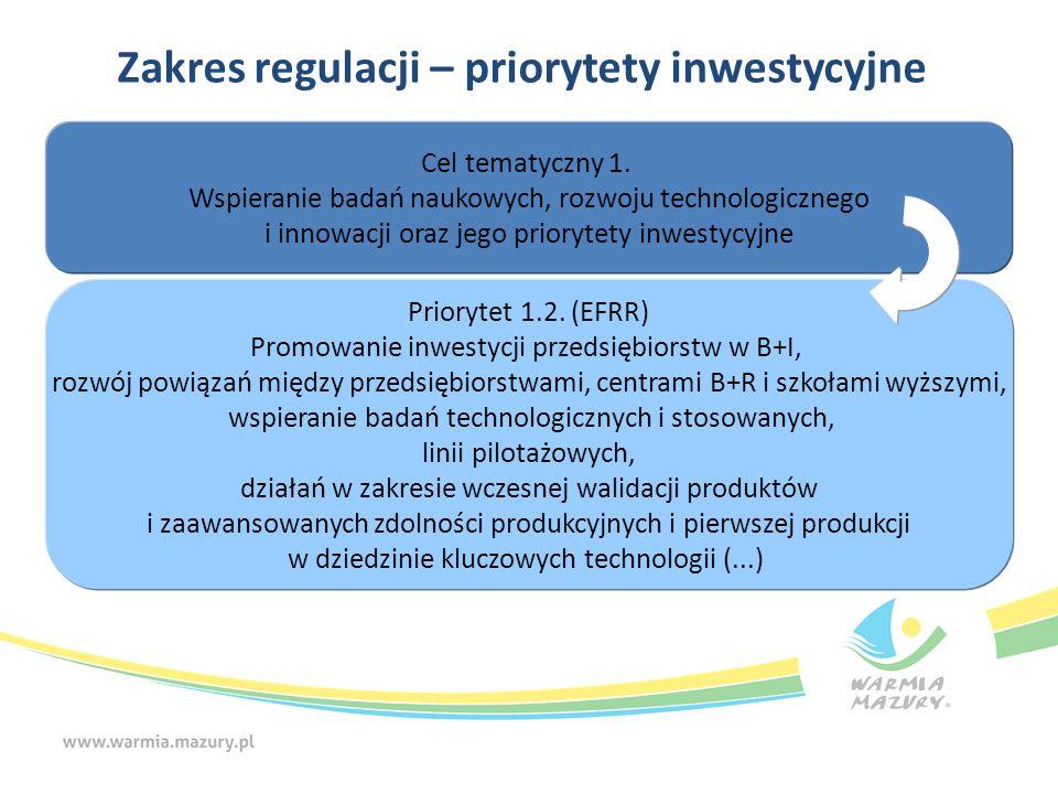 Zakres regulacji – priorytety inwestycyjne Cel tematyczny 1. Wspieranie badań naukowych, rozwoju technologicznego i innowacji oraz jego priorytety inw