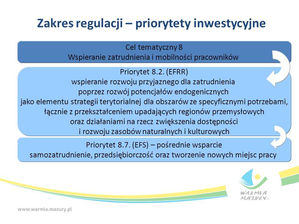 Zakres regulacji – priorytety inwestycyjne Cel tematyczny 8 Wspieranie zatrudnienia i mobilności pracowników Priorytet 8.2. (EFRR) wspieranie rozwoju