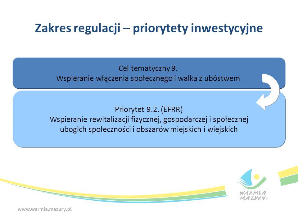 Zakres regulacji – priorytety inwestycyjne Cel tematyczny 9. Wspieranie włączenia społecznego i walka z ubóstwem Priorytet 9.2. (EFRR) Wspieranie rewi