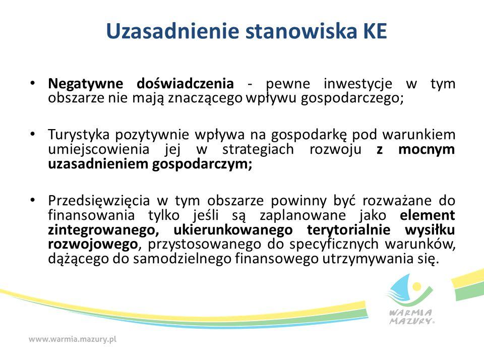 Uzasadnienie stanowiska KE Negatywne doświadczenia - pewne inwestycje w tym obszarze nie mają znaczącego wpływu gospodarczego; Turystyka pozytywnie wp