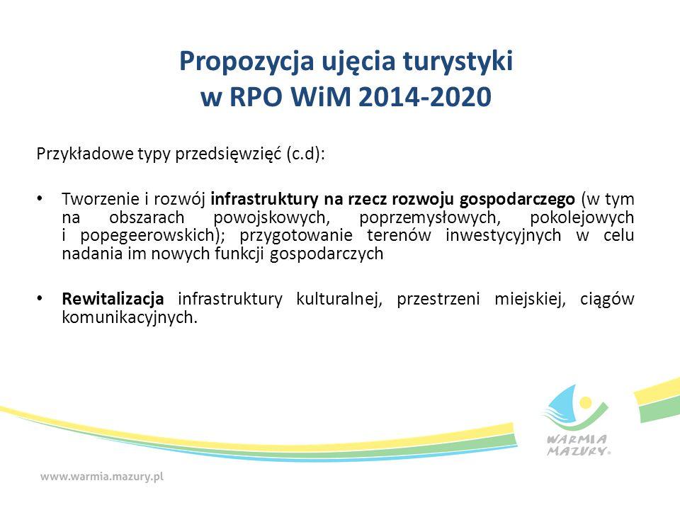 Propozycja ujęcia turystyki w RPO WiM 2014-2020 Przykładowe typy przedsięwzięć (c.d): Tworzenie i rozwój infrastruktury na rzecz rozwoju gospodarczego