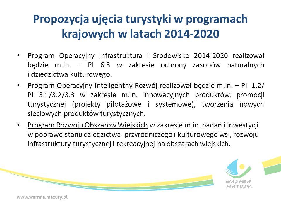 Propozycja ujęcia turystyki w programach krajowych w latach 2014-2020 Program Operacyjny Infrastruktura i Środowisko 2014-2020 realizował będzie m.in.