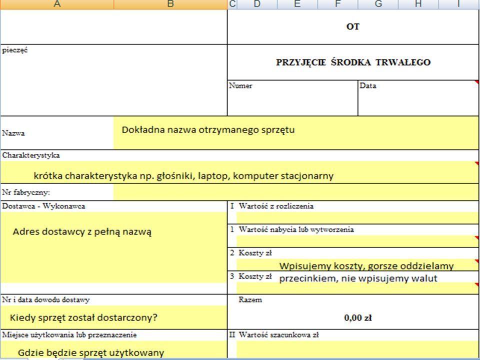 Numer EP/ Numer SAT Numer ewidencyjny nadawany przez kierownika obiektu dla środków trwałych poniżej 500 zł na fakturze.