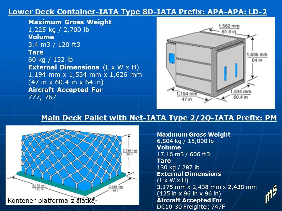 Maximum Gross Weight 1,225 kg / 2,700 lb Volume 3.4 m3 / 120 ft3 Tare 60 kg / 132 lb External Dimensions (L x W x H) 1,194 mm x 1,534 mm x 1,626 mm (4
