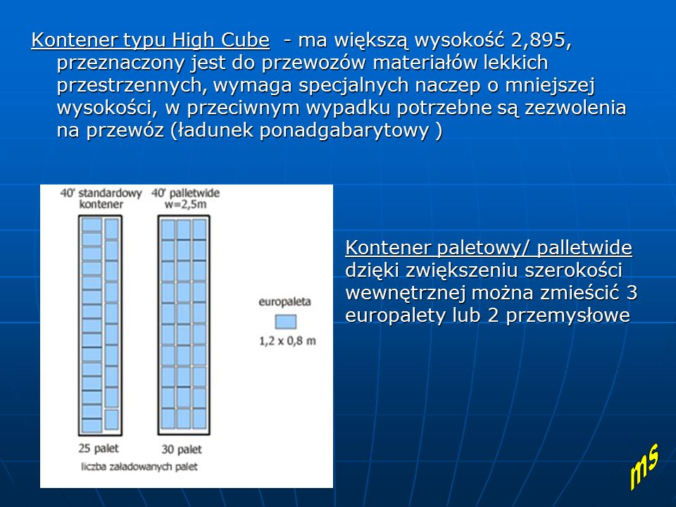 Kontener typu High Cube - ma większą wysokość 2,895, przeznaczony jest do przewozów materiałów lekkich przestrzennych, wymaga specjalnych naczep o mni