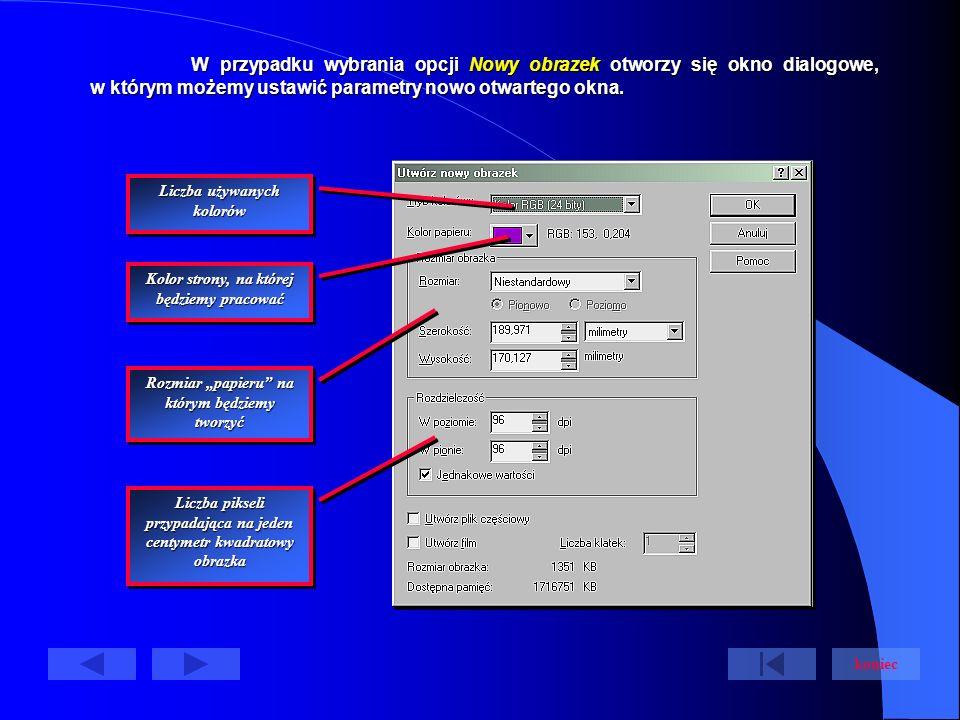 W przypadku wybrania opcji Nowy obrazek otworzy się okno dialogowe, w którym możemy ustawić parametry nowo otwartego okna.