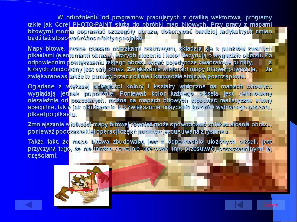 W odróżnieniu od programów pracujących z grafiką wektorową, programy takie jak Corel PHOTO-PAINT służą do obróbki map bitowych.