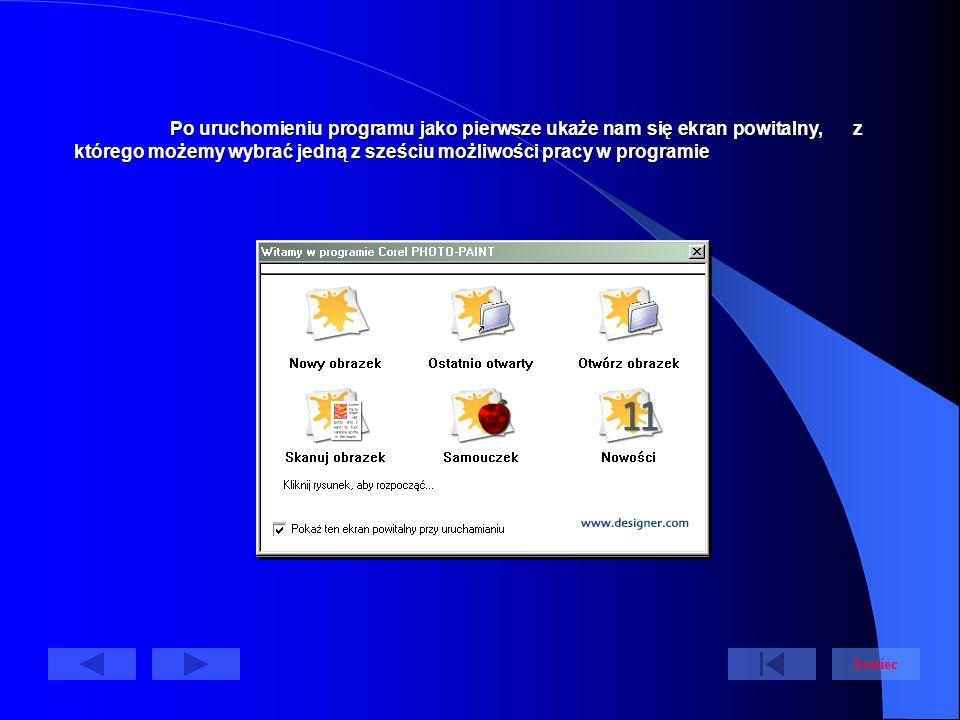 Po uruchomieniu programu jako pierwsze ukaże nam się ekran powitalny, z którego możemy wybrać jedną z sześciu możliwości pracy w programie koniec