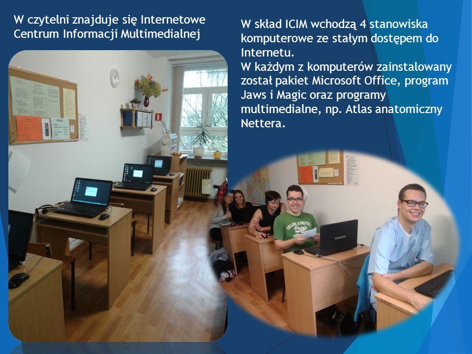 W czytelni znajduje się Internetowe Centrum Informacji Multimedialnej W skład ICIM wchodzą 4 stanowiska komputerowe ze stałym dostępem do Internetu.