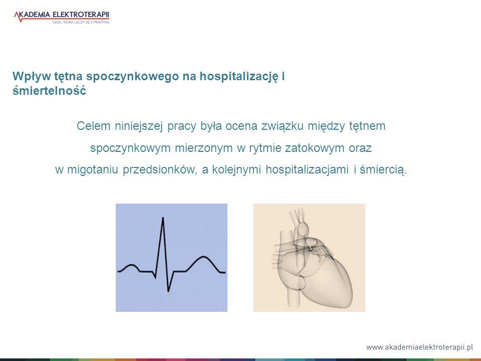 Celem niniejszej pracy była ocena związku między tętnem spoczynkowym mierzonym w rytmie zatokowym oraz w migotaniu przedsionków, a kolejnymi hospitalizacjami i śmiercią.