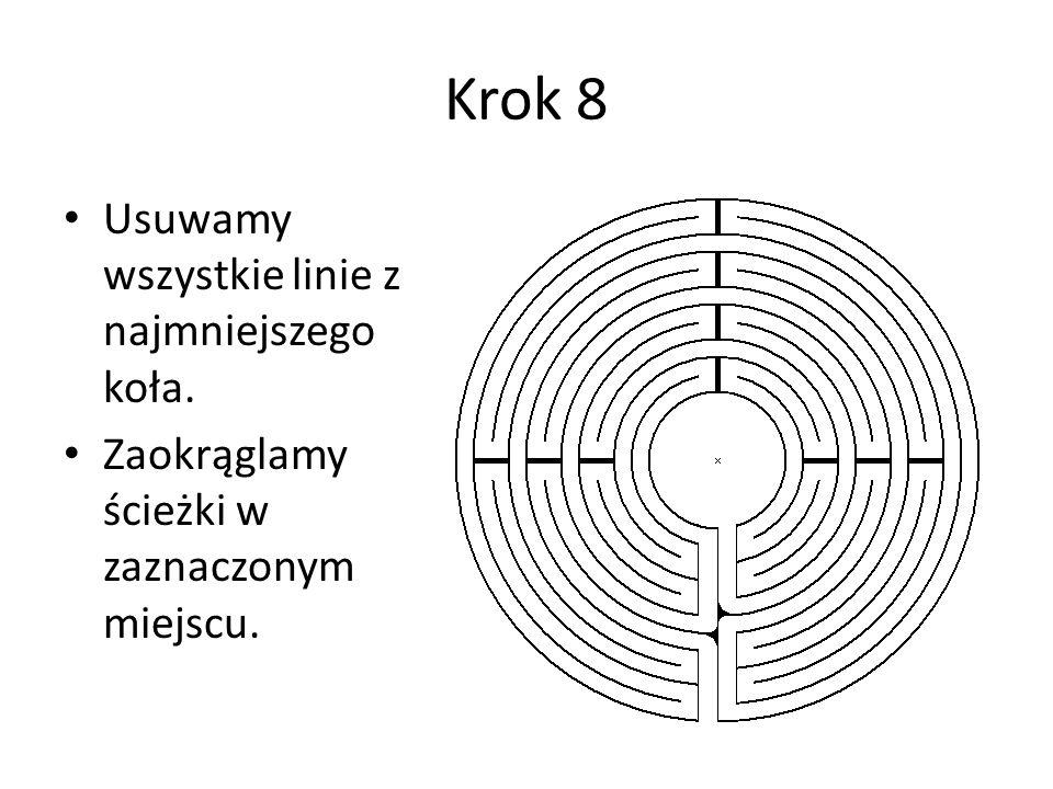 Krok 8 Usuwamy wszystkie linie z najmniejszego koła. Zaokrąglamy ścieżki w zaznaczonym miejscu.