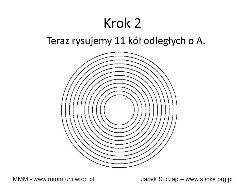 MMM - www.mmm.uni.wroc.pl Jacek Szczap – www.sfinks.org.pl Krok 2 Teraz rysujemy 11 kół odległych o A.