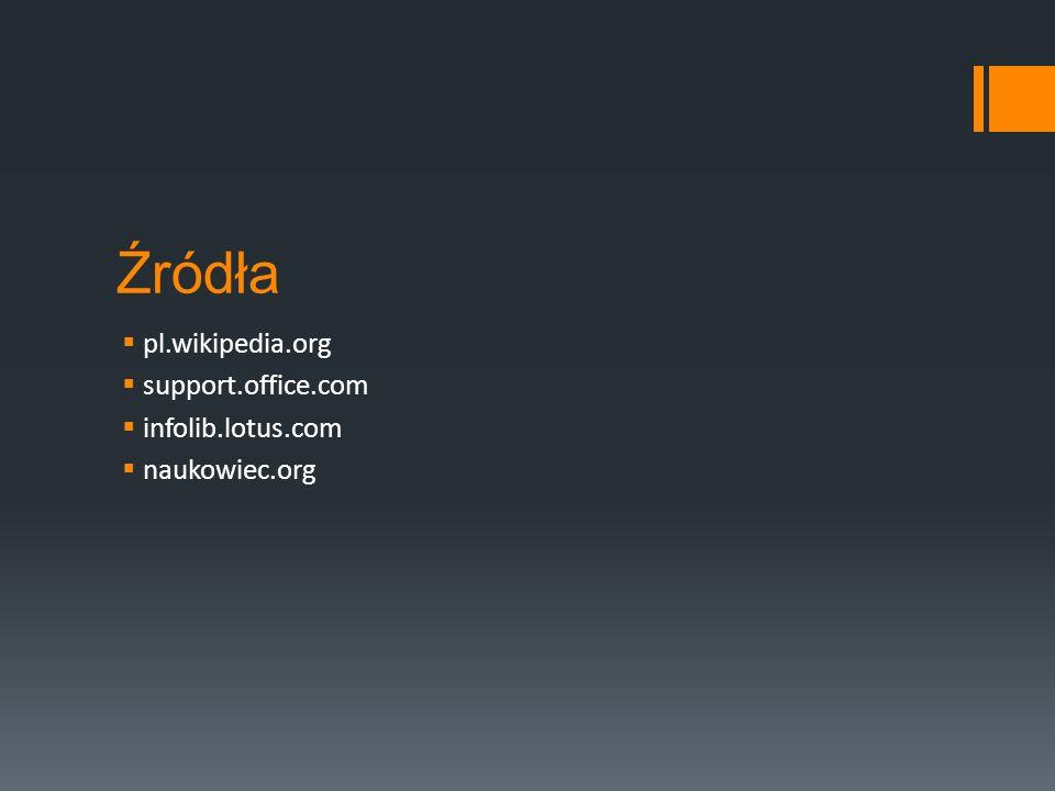 Źródła  pl.wikipedia.org  support.office.com  infolib.lotus.com  naukowiec.org