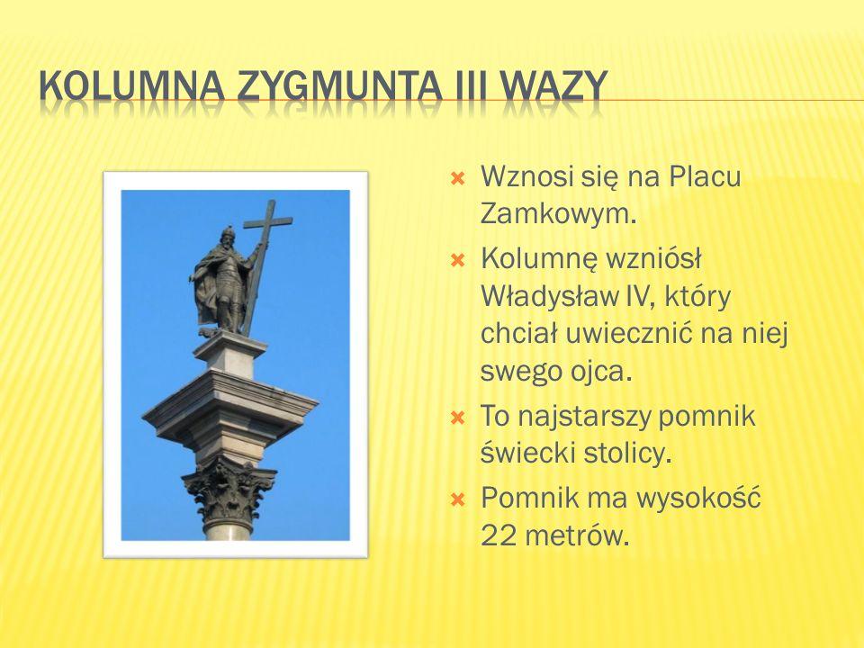  Wznosi się na Placu Zamkowym.  Kolumnę wzniósł Władysław IV, który chciał uwiecznić na niej swego ojca.  To najstarszy pomnik świecki stolicy.  P