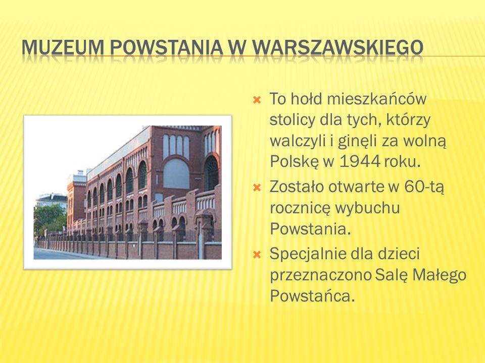  To hołd mieszkańców stolicy dla tych, którzy walczyli i ginęli za wolną Polskę w 1944 roku.  Zostało otwarte w 60-tą rocznicę wybuchu Powstania. 