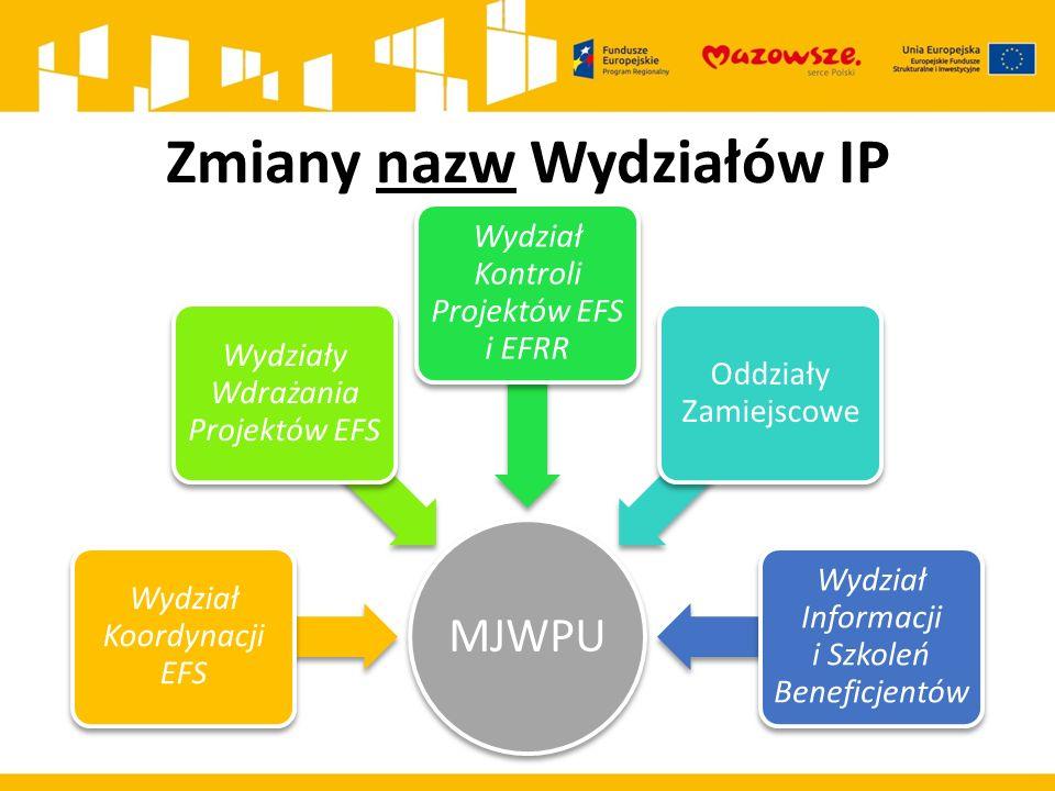 Zmiany nazw Wydziałów IP MJWPU Wydział Koordynacji EFS Wydziały Wdrażania Projektów EFS Wydział Kontroli Projektów EFS i EFRR Oddziały Zamiejscowe Wydział Informacji i Szkoleń Beneficjentów