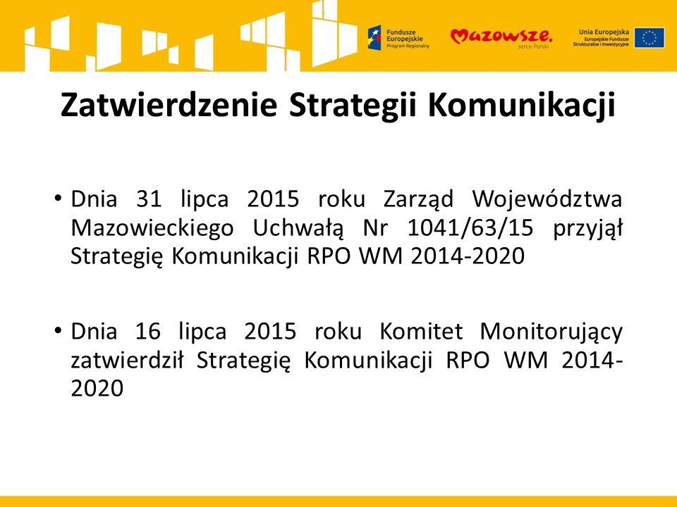 Zatwierdzenie Strategii Komunikacji Dnia 31 lipca 2015 roku Zarząd Województwa Mazowieckiego Uchwałą Nr 1041/63/15 przyjął Strategię Komunikacji RPO WM 2014-2020 Dnia 16 lipca 2015 roku Komitet Monitorujący zatwierdził Strategię Komunikacji RPO WM 2014- 2020