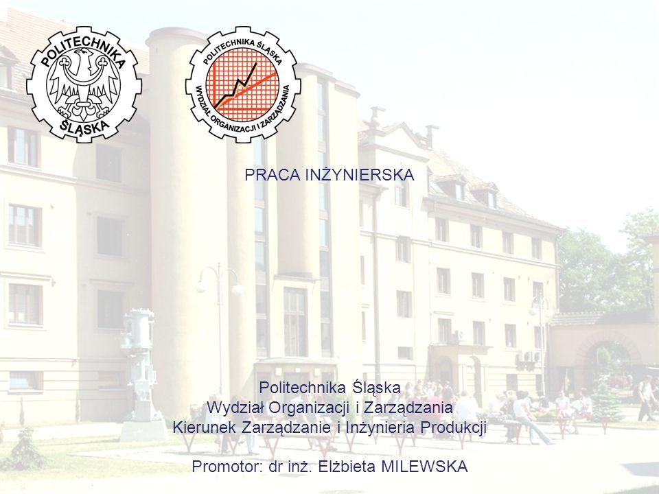 PRACA INŻYNIERSKA Politechnika Śląska Wydział Organizacji i Zarządzania Kierunek Zarządzanie i Inżynieria Produkcji Promotor: dr inż.