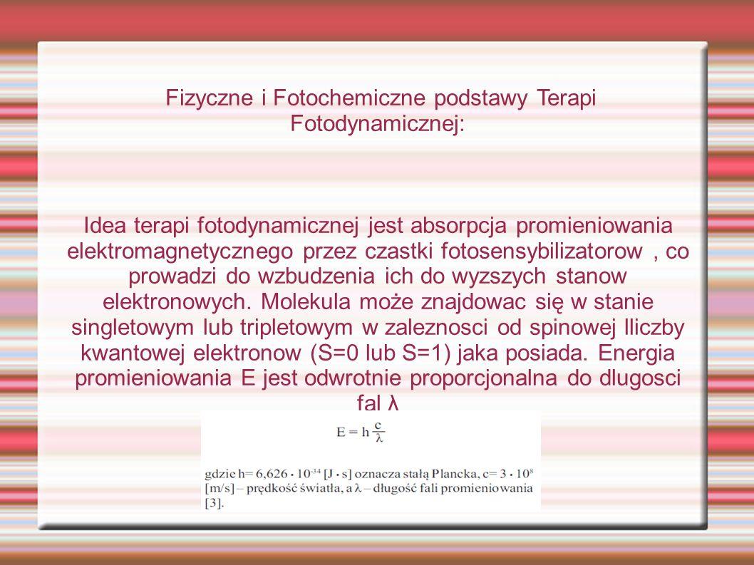 Fizyczne i Fotochemiczne podstawy Terapi Fotodynamicznej: Idea terapi fotodynamicznej jest absorpcja promieniowania elektromagnetycznego przez czastki fotosensybilizatorow, co prowadzi do wzbudzenia ich do wyzszych stanow elektronowych.