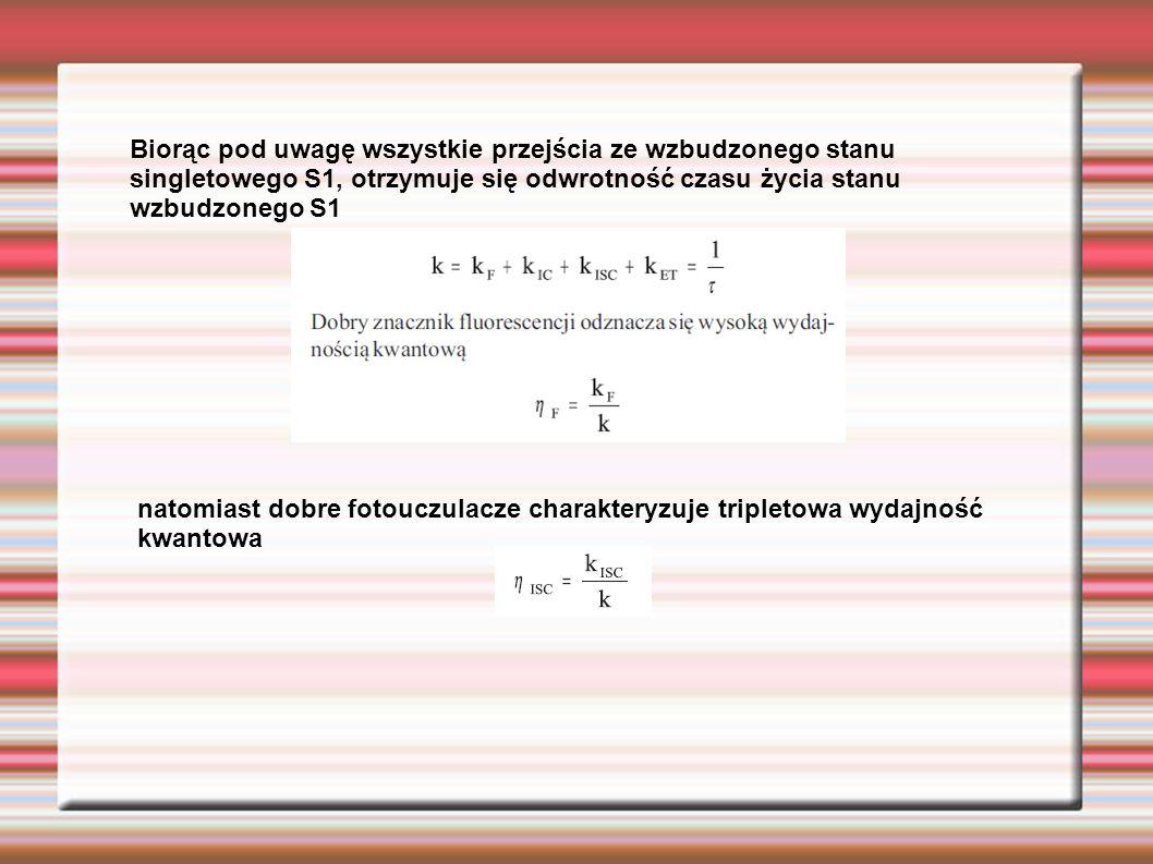 Biorąc pod uwagę wszystkie przejścia ze wzbudzonego stanu singletowego S1, otrzymuje się odwrotność czasu życia stanu wzbudzonego S1 natomiast dobre f