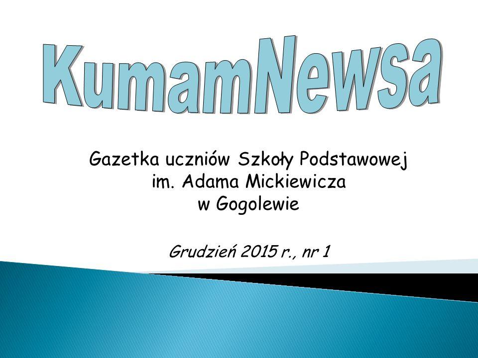 Gazetka uczniów Szkoły Podstawowej im. Adama Mickiewicza w Gogolewie Grudzień 2015 r., nr 1