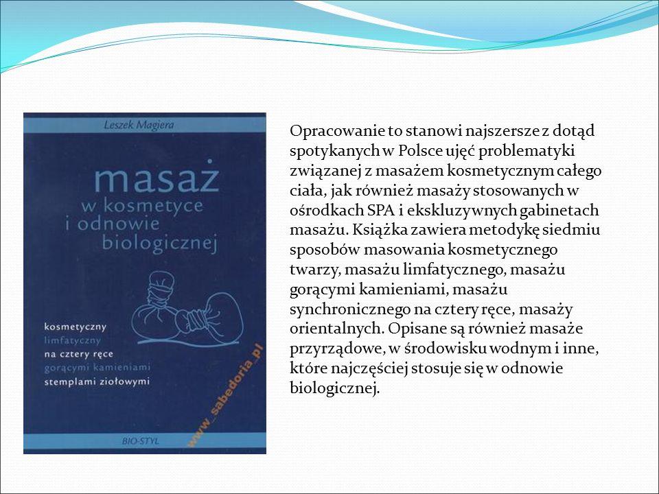 Opracowanie to stanowi najszersze z dotąd spotykanych w Polsce ujęć problematyki związanej z masażem kosmetycznym całego ciała, jak również masaży sto