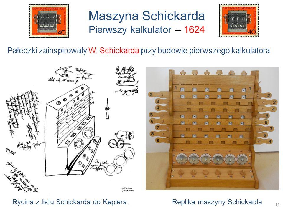 Maszyna Schickarda Pierwszy kalkulator – 1624 Rycina z listu Schickarda do Keplera. Replika maszyny Schickarda Pałeczki zainspirowały W. Schickarda pr