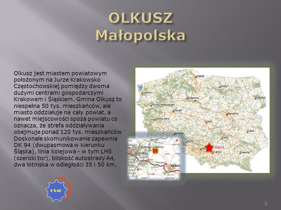 2 Olkusz jest miastem powiatowym położonym na Jurze Krakowsko Częstochowskiej pomiędzy dwoma dużymi centrami gospodarczymi Krakowem i Śląskiem.