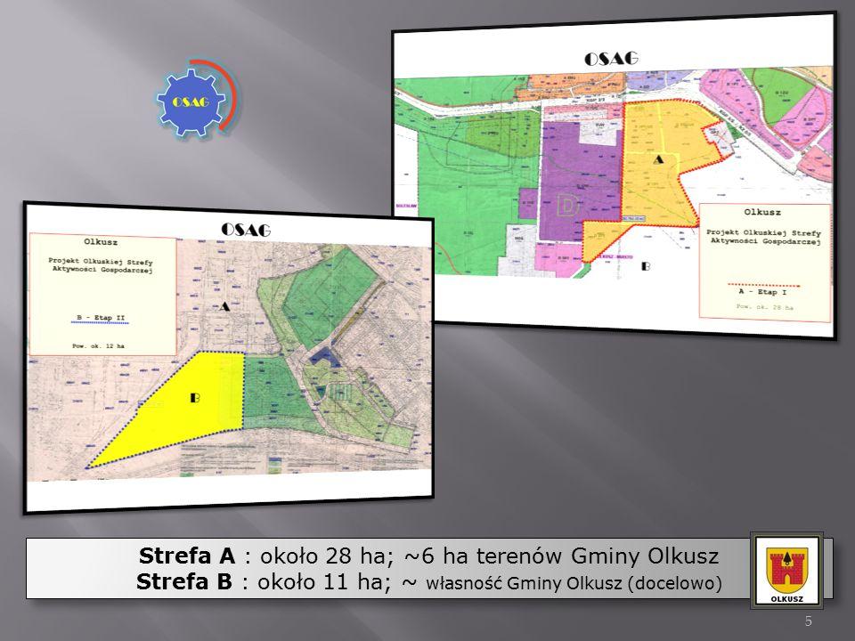 Strefa A : około 28 ha; ~6 ha terenów Gminy Olkusz Strefa B : około 11 ha; ~ własność Gminy Olkusz (docelowo) Strefa A : około 28 ha; ~6 ha terenów Gm