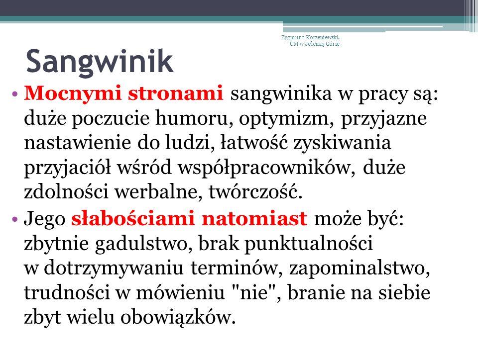 Sangwinik Mocnymi stronami sangwinika w pracy są: duże poczucie humoru, optymizm, przyjazne nastawienie do ludzi, łatwość zyskiwania przyjaciół wśród